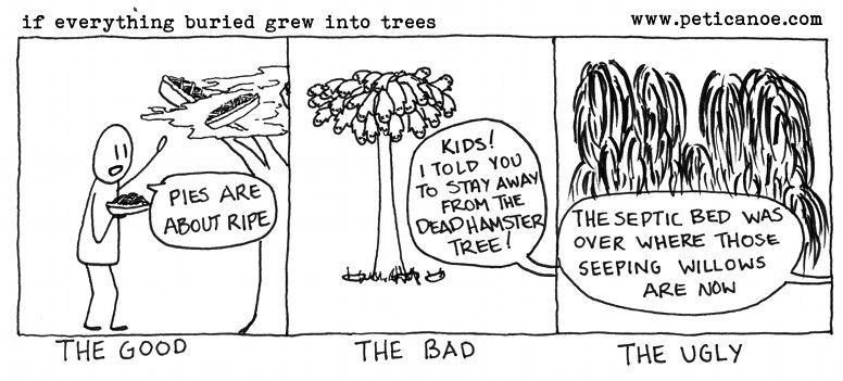 now we're all going over to the cemetery to prune back the uncle fred tree