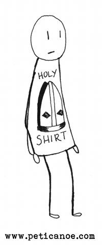 on the back it says 'this shirt will make you popeular'